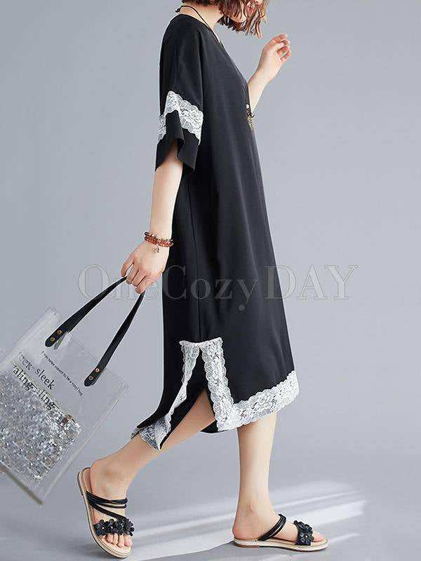Loose Lace Splicing High-Low V-Neck Dress