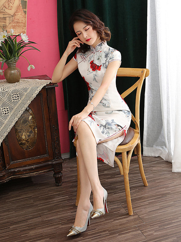 Floral Printed Two-Layer Improved Short Cheongsams