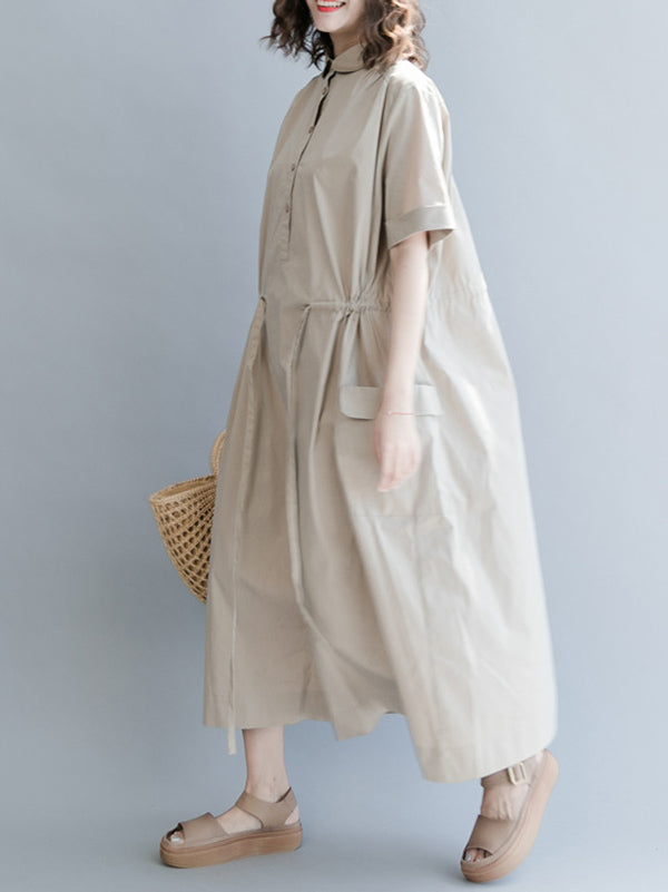 Casual Drawstring Long Dress