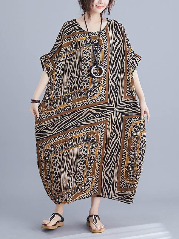 Loose Ethnic Print Round Neck Dress