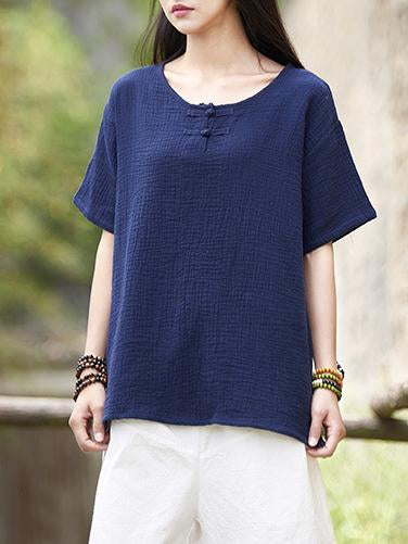 Red&Blue Chinoiserie Frog Round-neck Ramie Cotton T-shirt