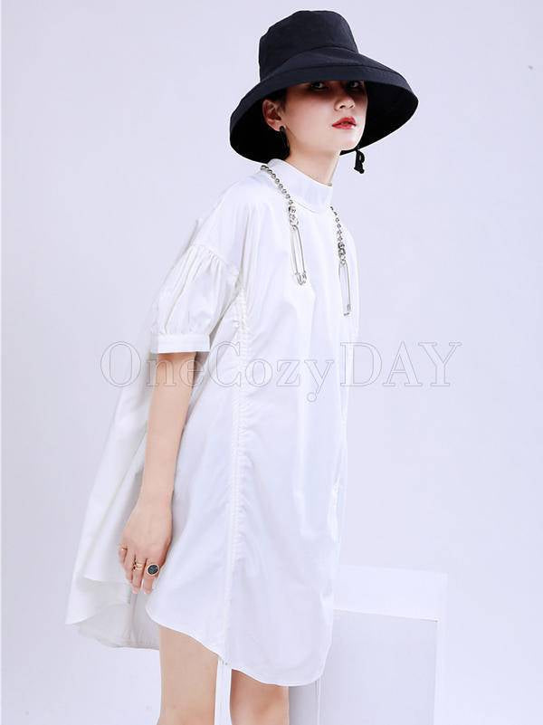 Original Puff Sleeve Drawstring Stand Collar Shirt Dress