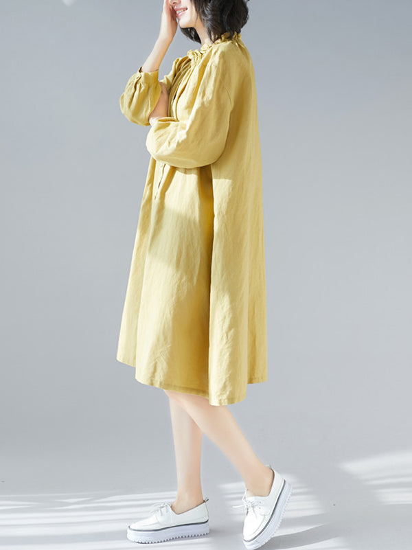 Loose Solid Special Neck Designed Shirt Dress