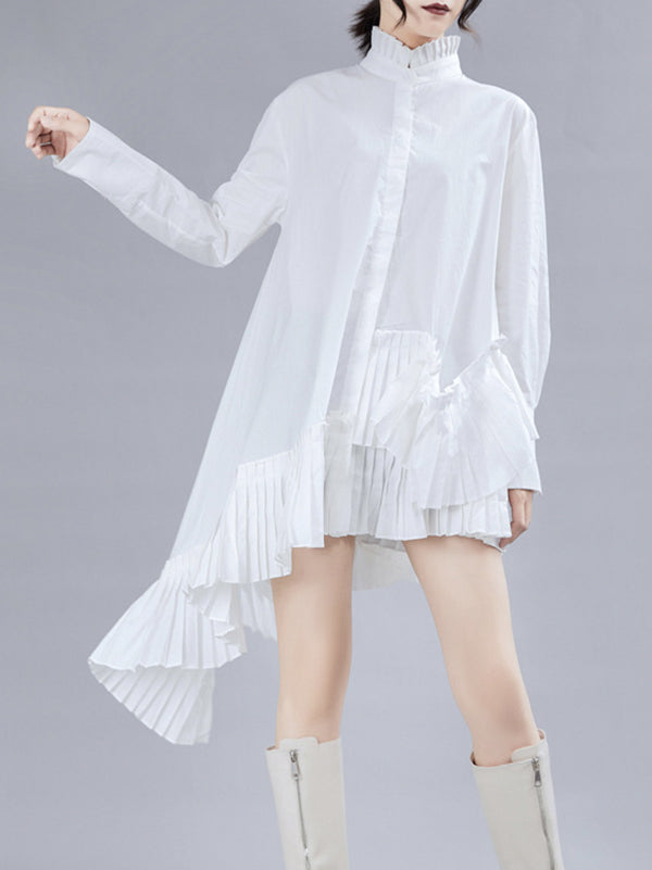 Loose Stand Collar Ruffled Retro Shirt