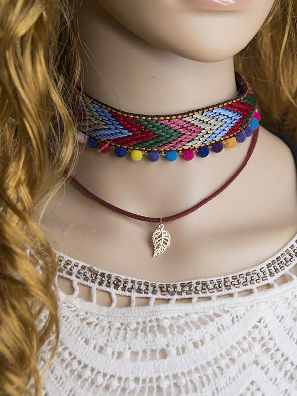 Hand Knitting Choker With Leaf Necklaces