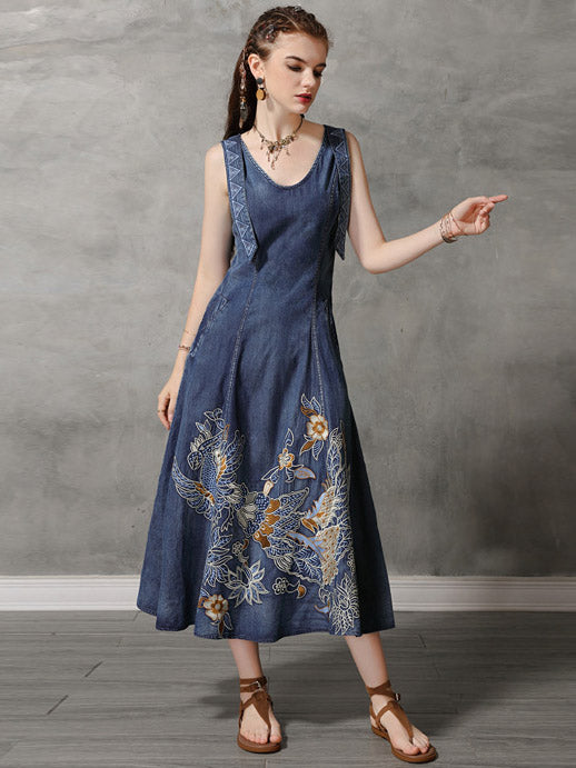 Original Retro Embroidered Hemline Denim Long Dress