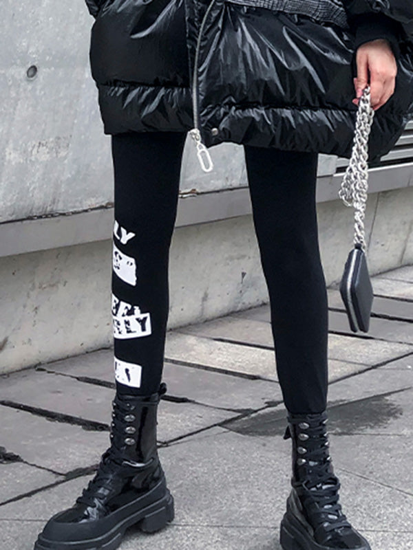 Letter Print Empire Leggings