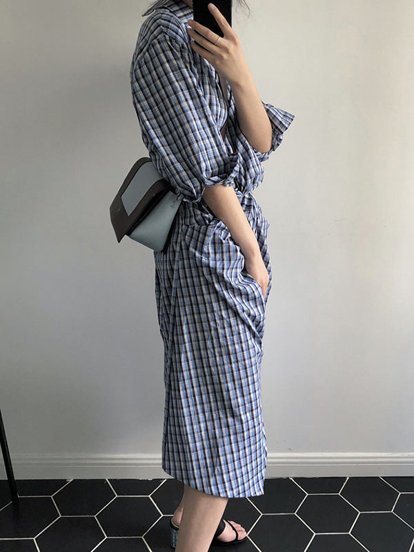 Fresh Plaid Cropped Midi Dresses