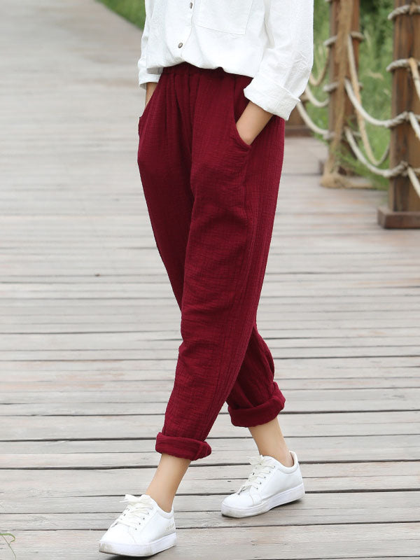 5 Colors Loose Ramie Cotton Casual Pants
