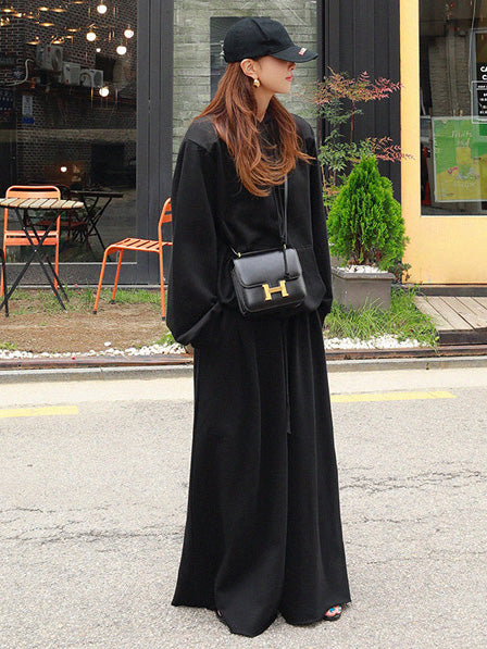 Loose Urban Gray Wide Leg Elastic Waist Pants