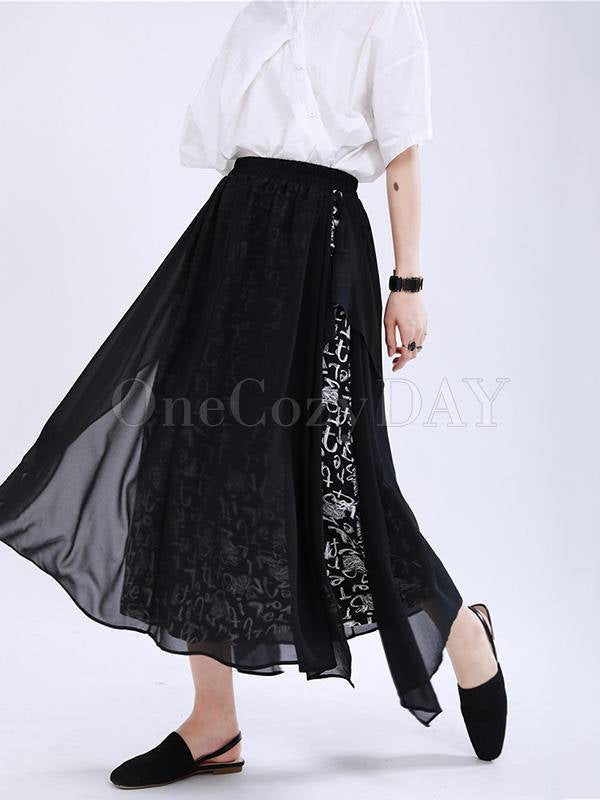 Loose Split-Joint Cropped False-Two Culotte