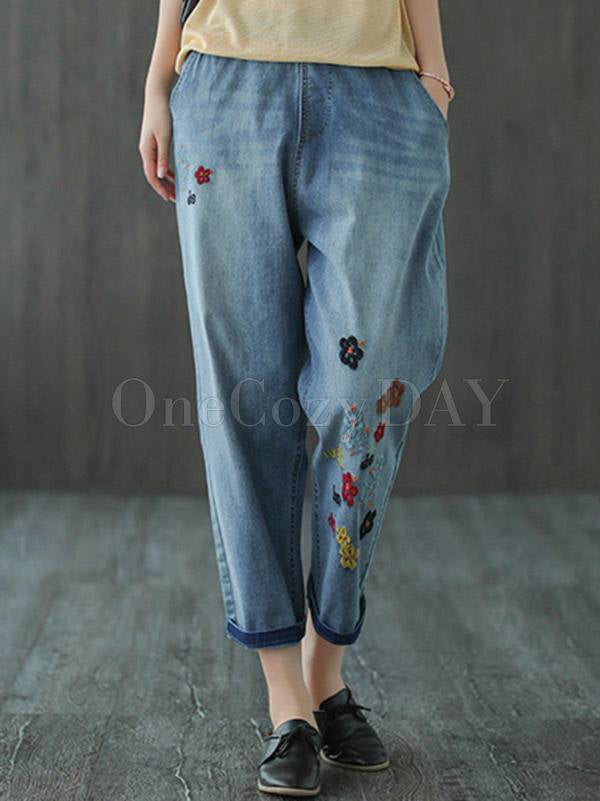 Original Embroidered Denim Capri-Pants