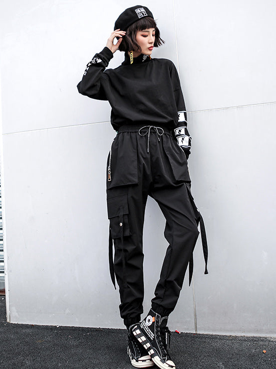Casual Zipper Drawstring Overall Pants