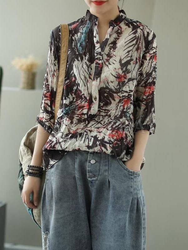 Vintage Printed Loose Three-Quarter Sleeve Stand Collar Shirt