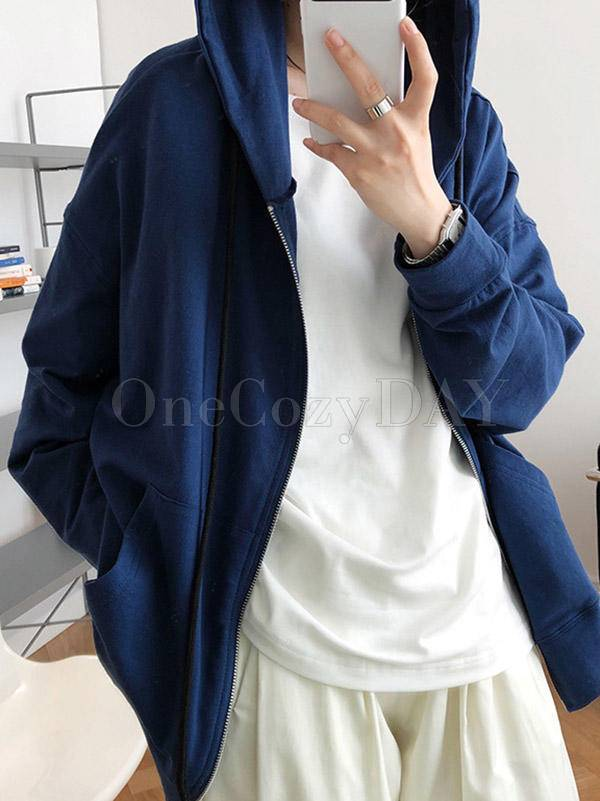 Casual Comfortable A Zip-Up Hoodie Outwear