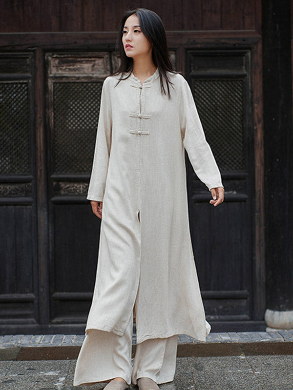 Ethnic Style Single-Breasted Stand-Collar Midi Dress