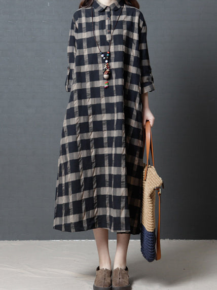Loose Plaid Plus Size Ramie Cotton Blouse Midi Dresses