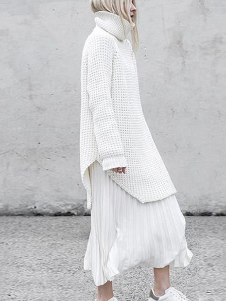 Loose Solid Knitting High-neck Long Sweater