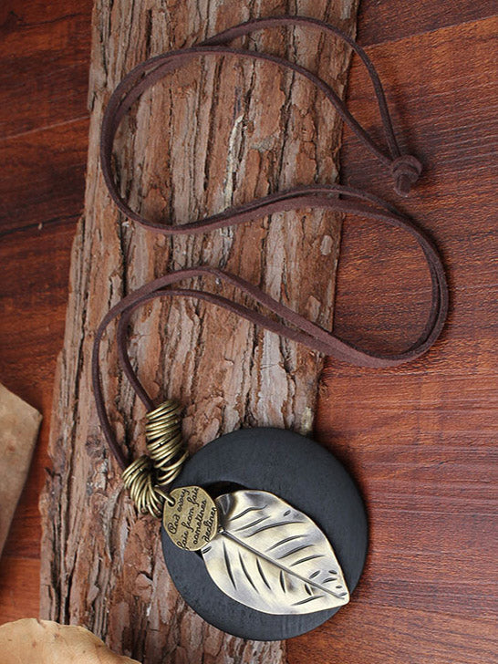 Vintage Leaf Pendant Necklace