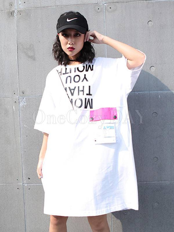 Loose Lettered Print Long T-Shirt