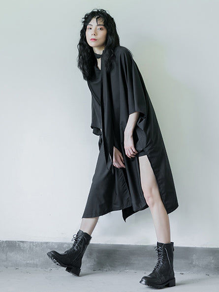 Simple Black Lace-up Batwing Sleeves Dress