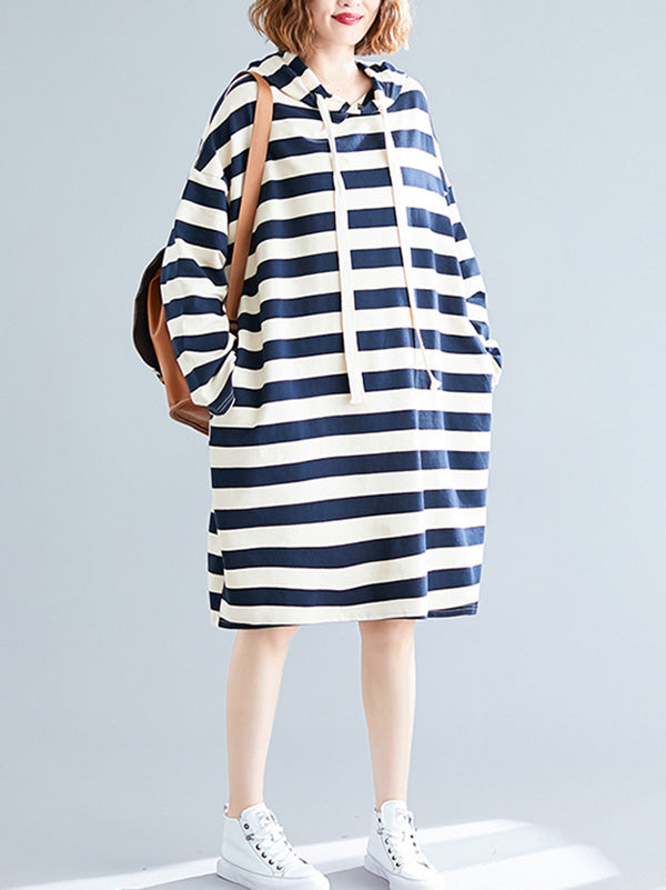 Casual Striped Hoodie Sweatshirt Dress
