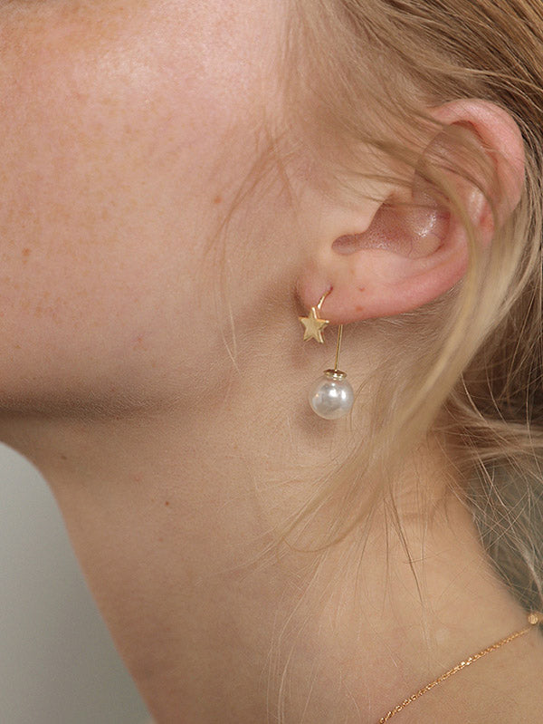 Star Imitation Pearls Earring