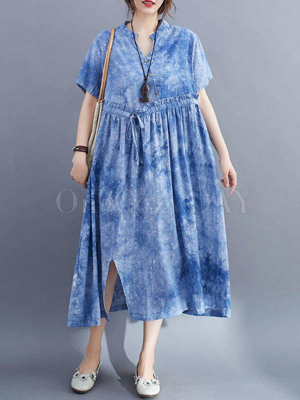 Tie-Dyed Split-Side V-Neck Long Dress
