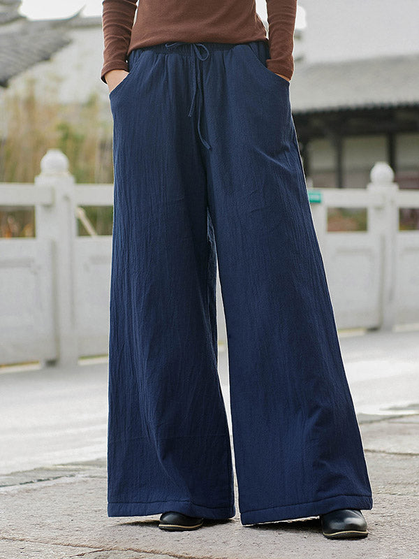 Vintage Solid Quilted Wide-Leg Pants