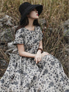 Literary Floral Ramie Cotton Long Dress