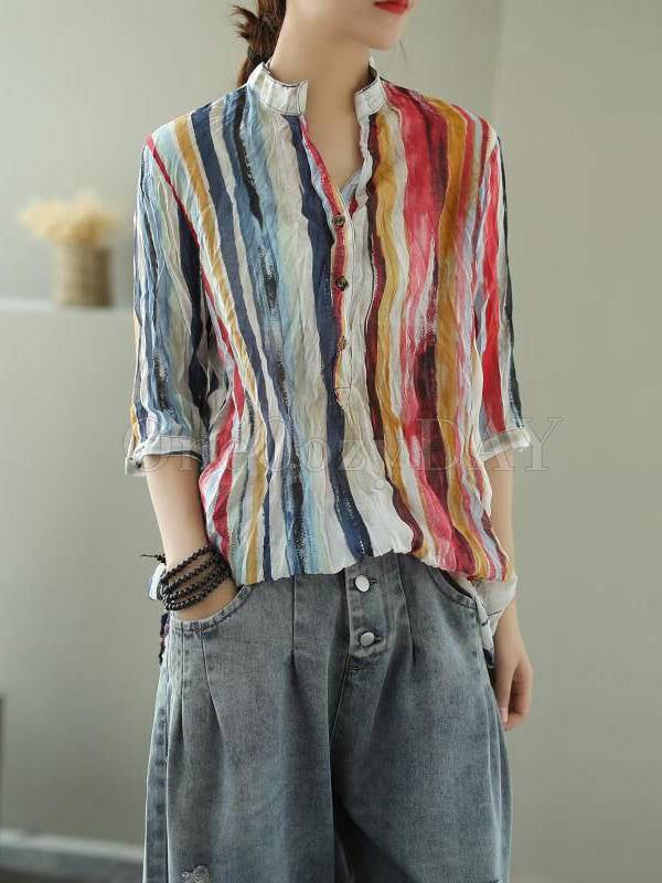 Vintage Loose Color Stripe Three-Quarter Sleeve Stand Collar Shirt