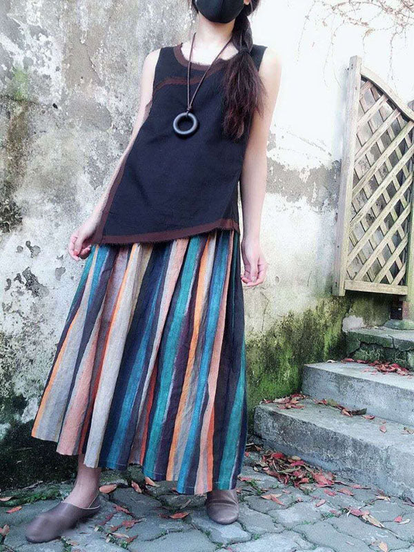 Colorful Striped Ramie Cotton Skirts