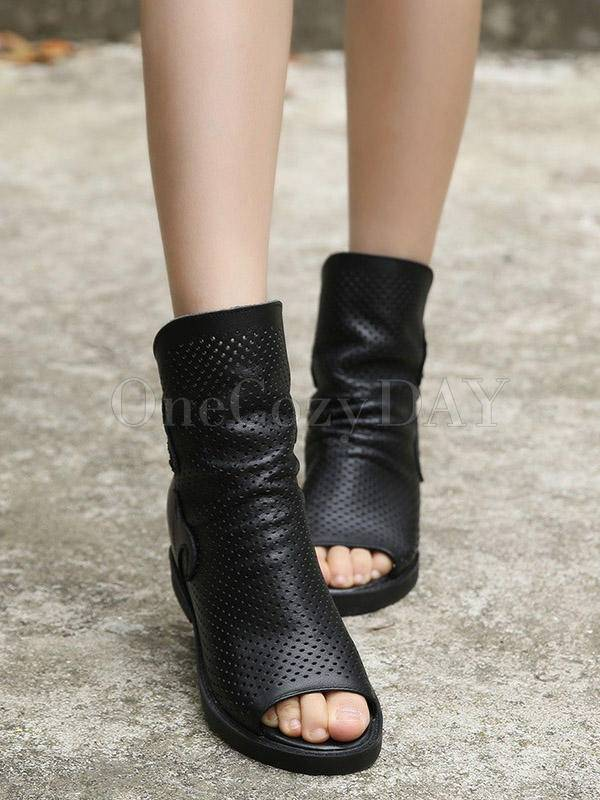 Fashion Solid Hollow Increased Internal Sandals