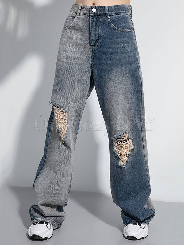Contrast Color Splice Hollow Wide Leg Jean Pants