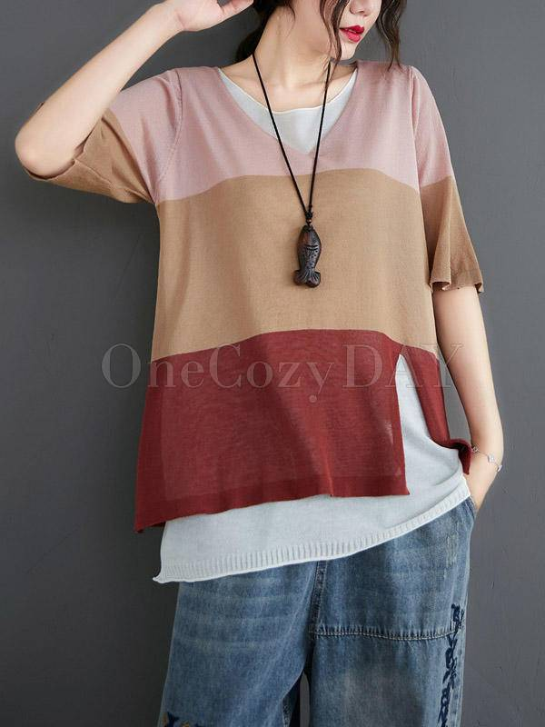 Loose False-Two Light Knitting Striped T-Shirts