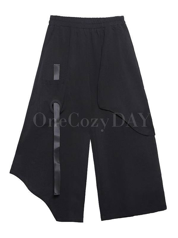Loose Empire Casual Wide-Leg Cropped Pants