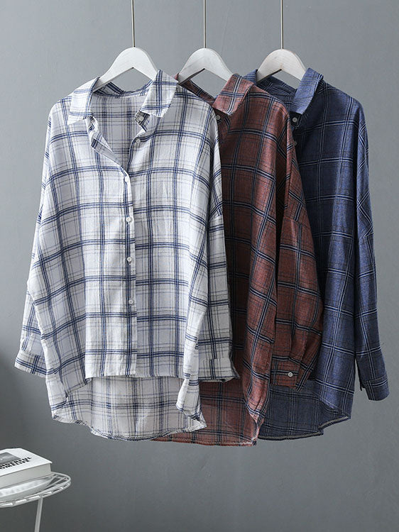Casual Comfortable Simple Plaid Shirt Blouses