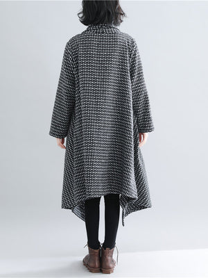Casual Plaid Knitted Outwear