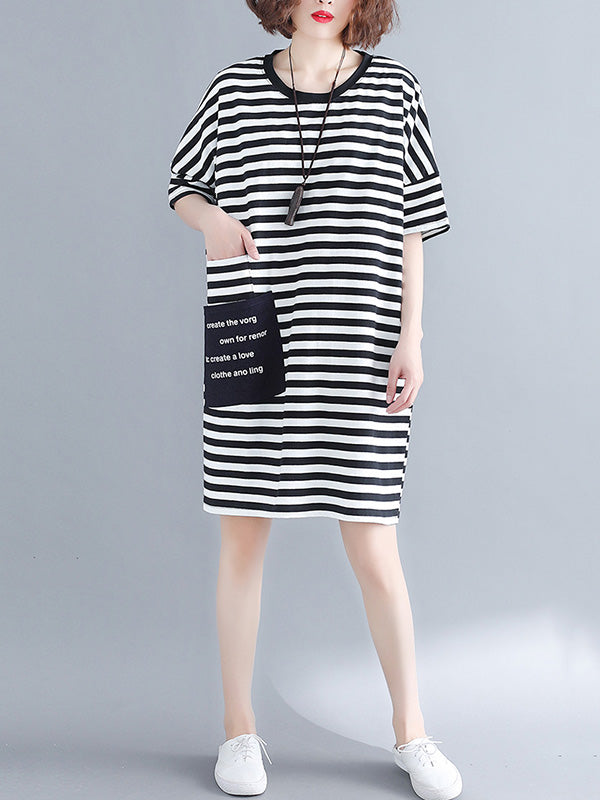 Loose Striped Round-neck Shirt Dress