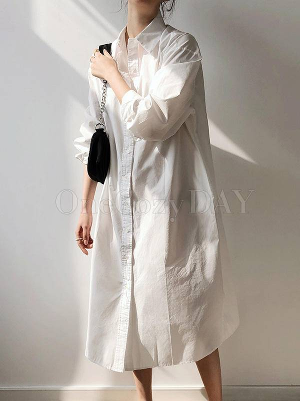 Casual Comfortable Simple Cotton Long Shirt Dress
