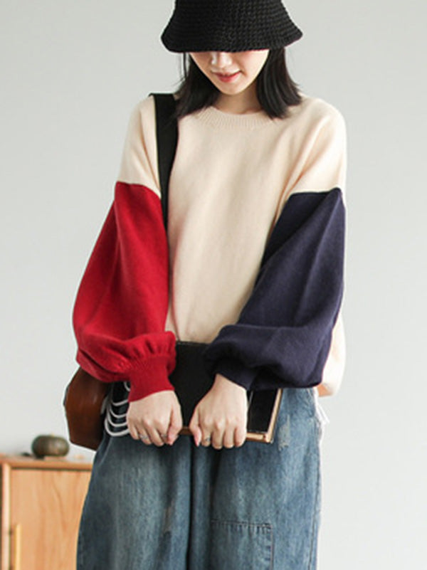 Original Contrast Color Knitting Sweater