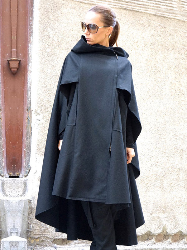 Deep Blue High-Low Cropped Cape Outwear