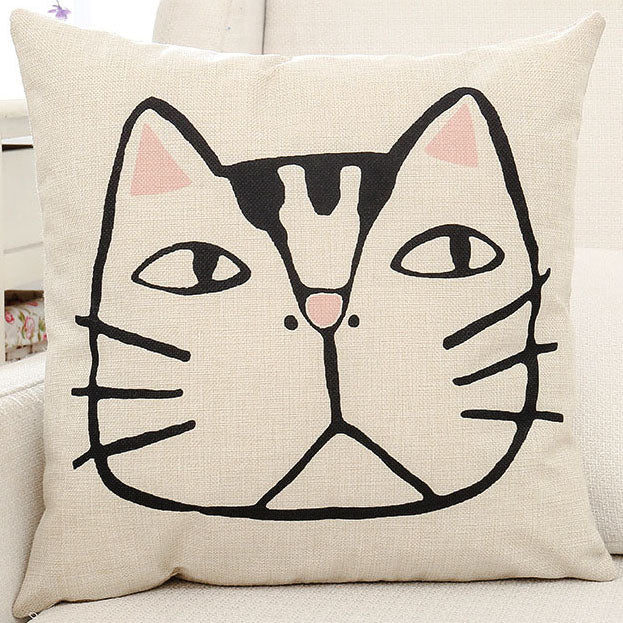 Cat Face Printed Pillow Case