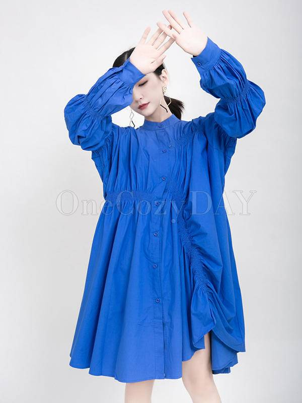Blue Loose Pleated Cropped Blouse Dress