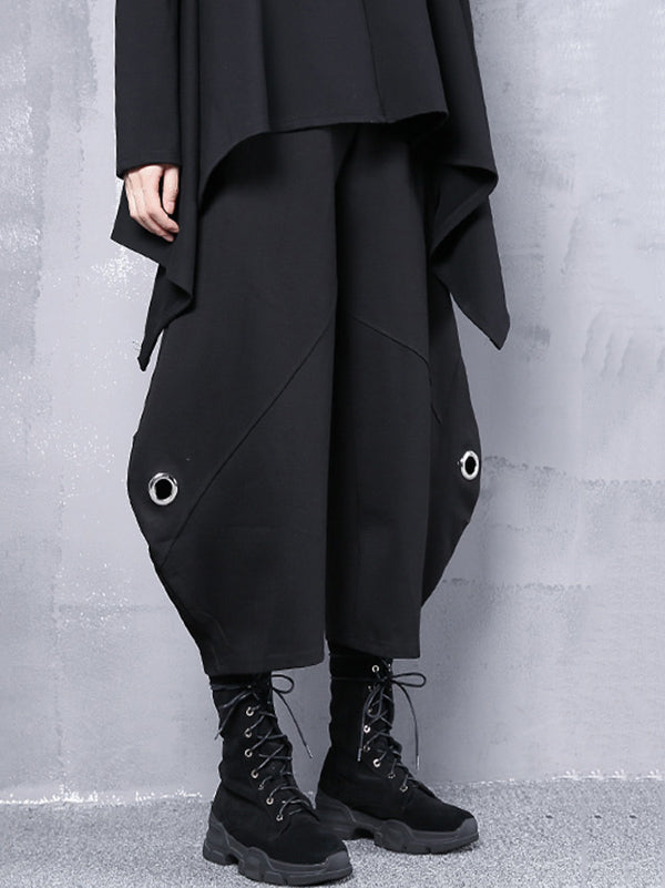 Black Loose Hollow High-Waist Casual Pants