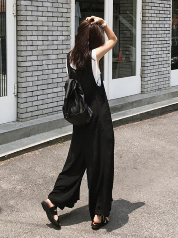 Loose Simple T-shirt and Jumpsuits Suits