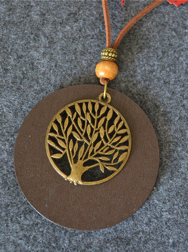Simple Wood Tree Necklace