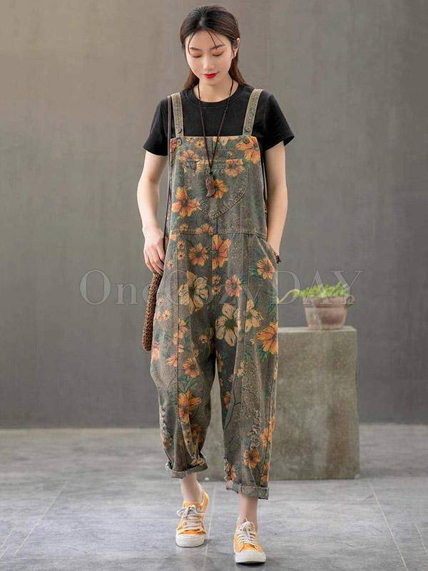 Casual Print Denim Wide-Leg Jumpsuits