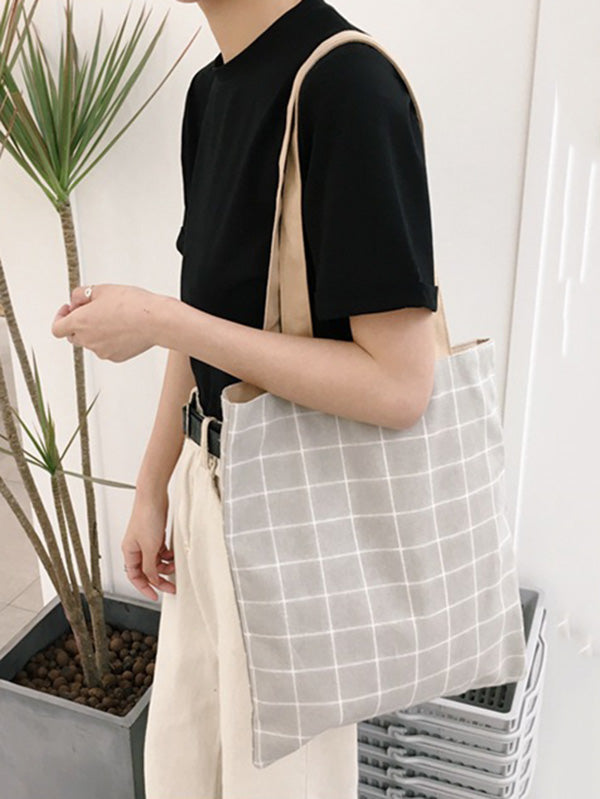 Simple Plaid Canvas Bag