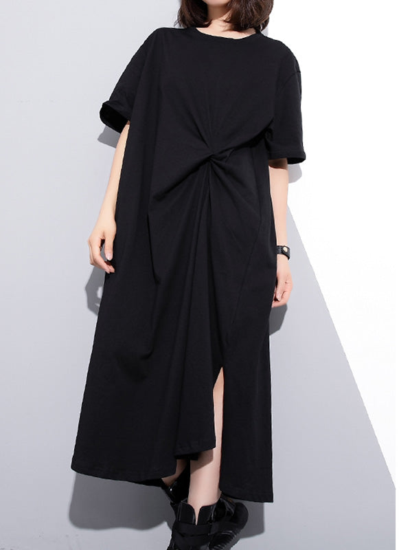 Split-side Solid Loose Cropped T-shirt Midi Dresses